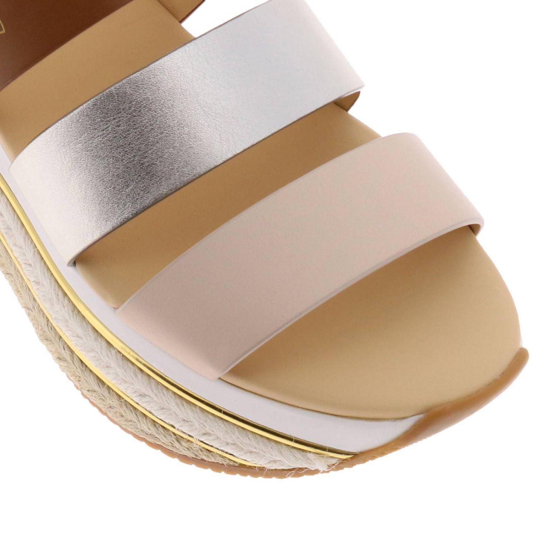 Sandalo Hogan a fasce tricolor con fibbia e maxi suola in gomma e corda platform beige 3