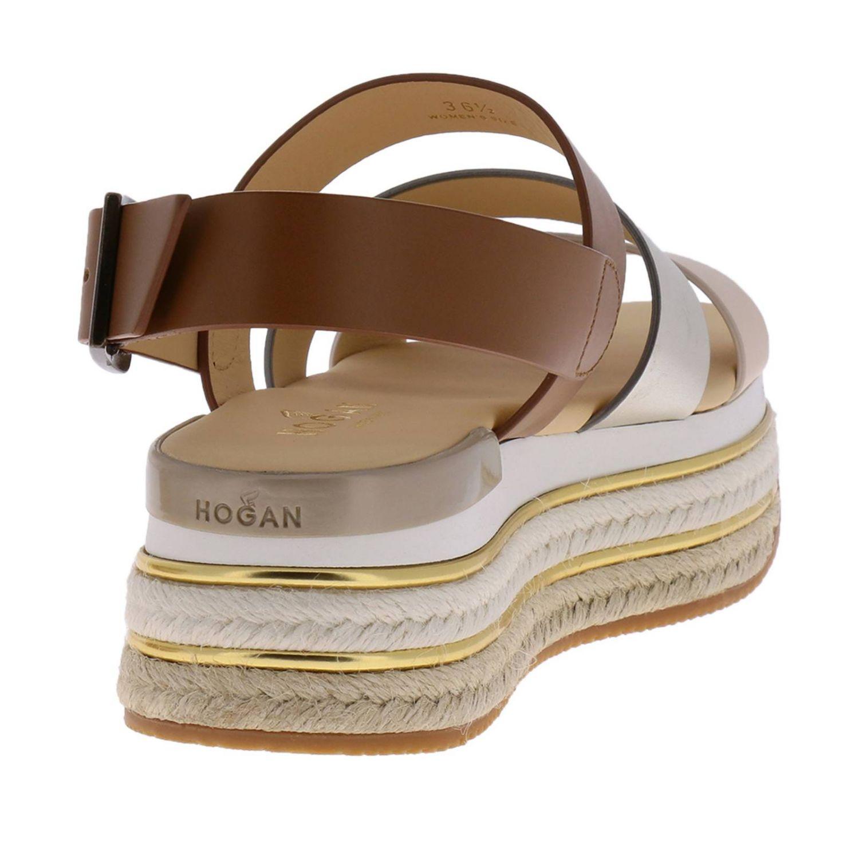 Sandalo Hogan a fasce tricolor con fibbia e maxi suola in gomma e corda platform beige 4