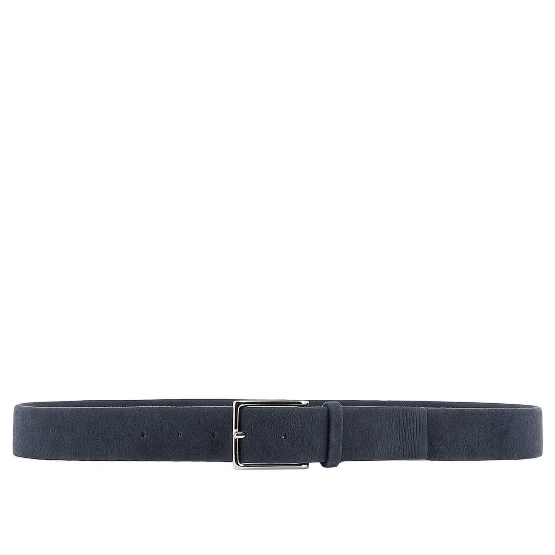 Cintura Orciani: Cintura Orciani classica in camoscio con fibbia metallica blue 1