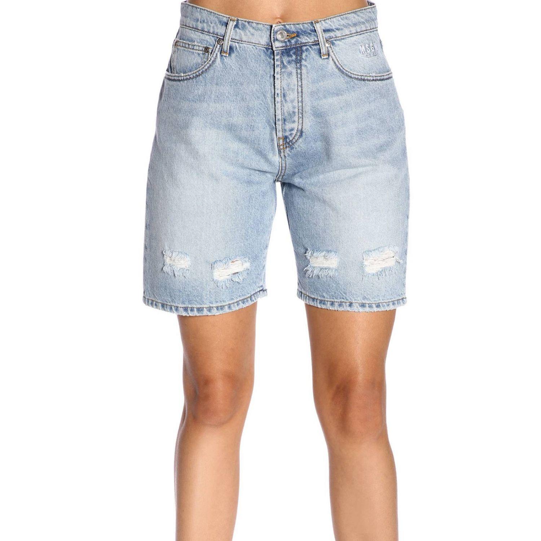 Shorts Msgm in denim stretch used con stampa logo denim 1