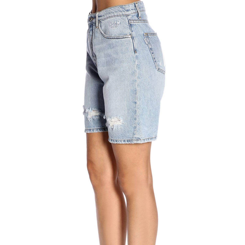 Shorts Msgm in denim stretch used con stampa logo denim 2