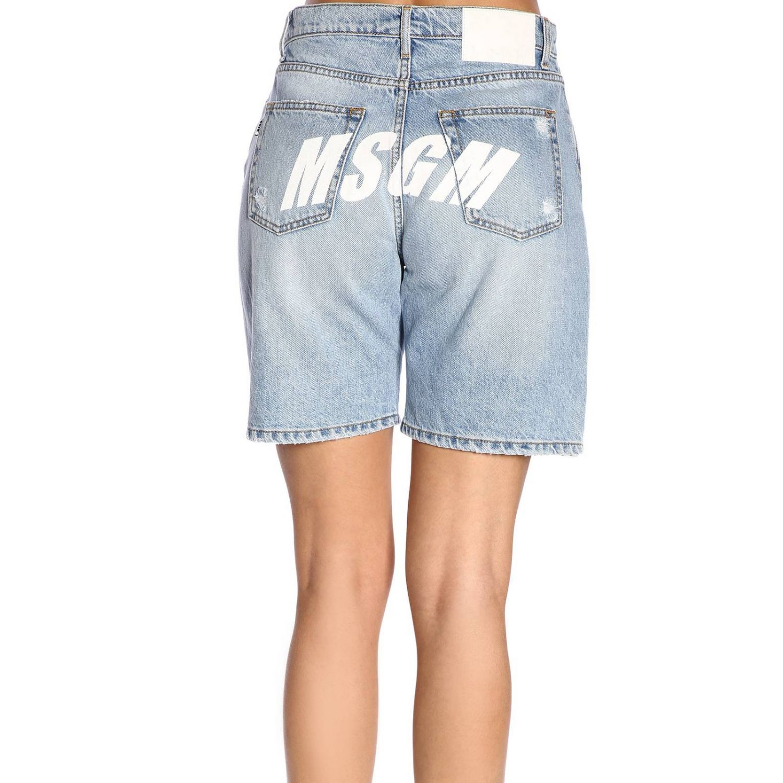 Shorts Msgm in denim stretch used con stampa logo denim 3