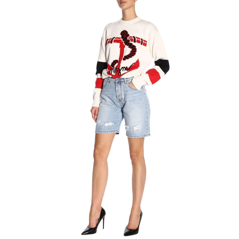 Shorts Msgm in denim stretch used con stampa logo denim 4
