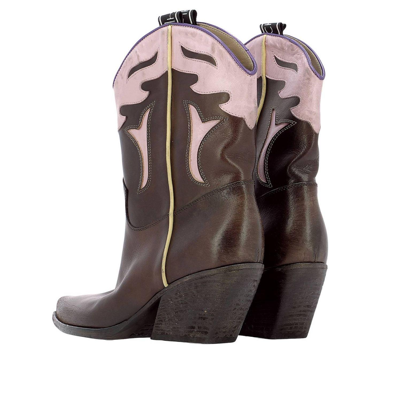 Stivale in pelle stile country con rifiniture impresse e tacco trasversale nero 3