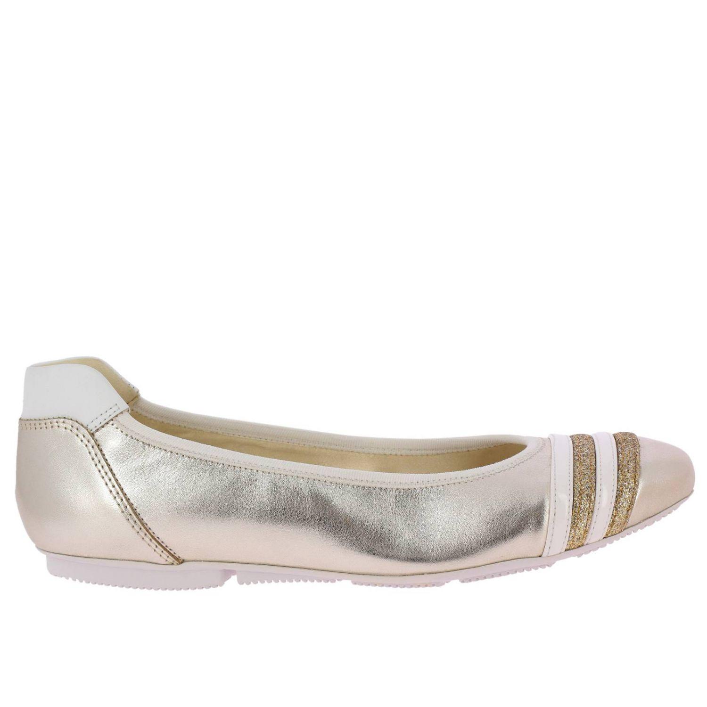 Ballerina 144 in pelle laminata con righe in vernice e glitter e bordi elasticizzati
