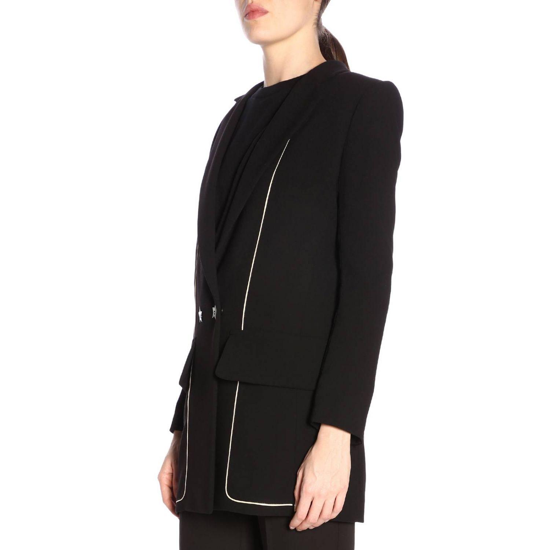 Giacca Elisabetta Franchi lunga a doppiopetto con micro bordi a contrasto nero 2