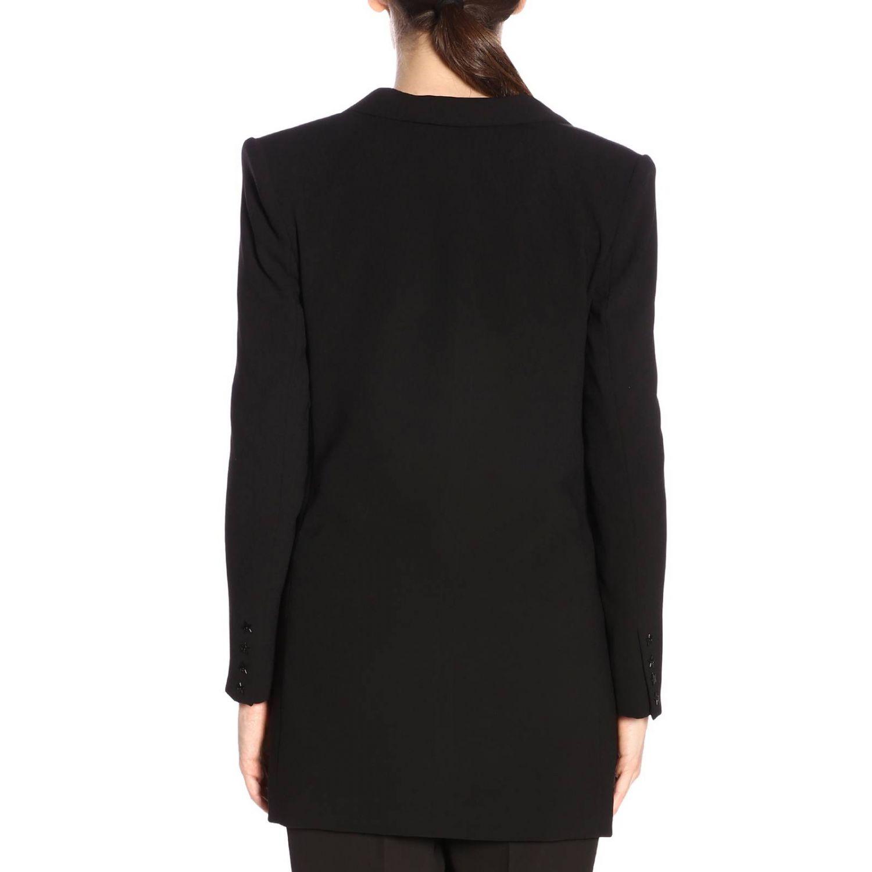Giacca Elisabetta Franchi lunga a doppiopetto con micro bordi a contrasto nero 3