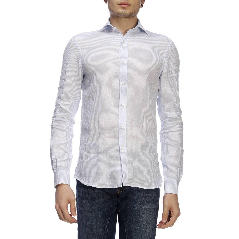 Camicia classic Fay a righe con logo ricamato e collo francese blue 1
