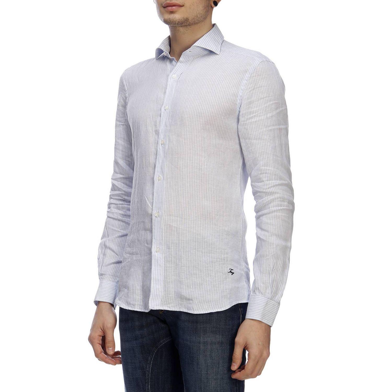 Camicia classic Fay a righe con logo ricamato e collo francese blue 2