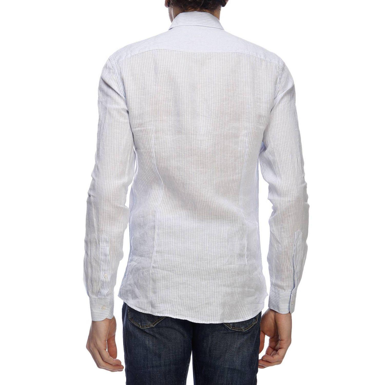 Camicia classic Fay a righe con logo ricamato e collo francese blue 3