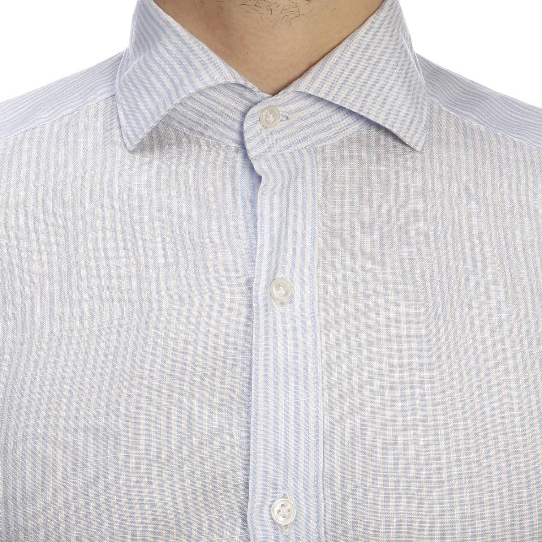 Camicia classic Fay a righe con logo ricamato e collo francese blue 5
