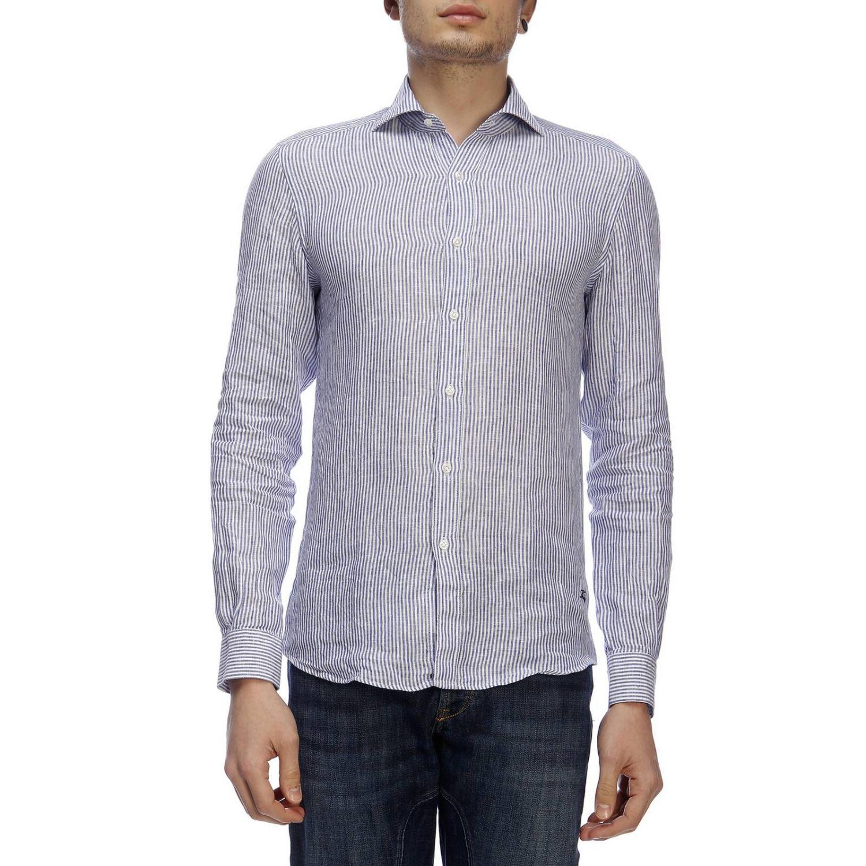 Shirt men Fay gnawed blue 1