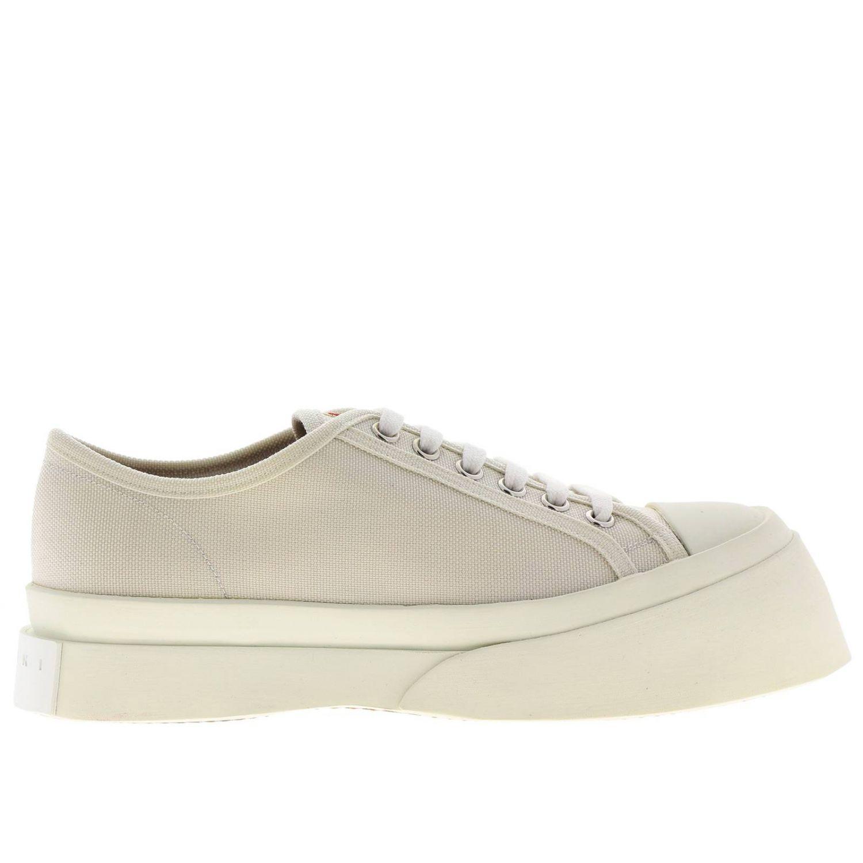 Sneakers Marni stringata in tela con logo e maxi suola in gomma smussata bianco 1