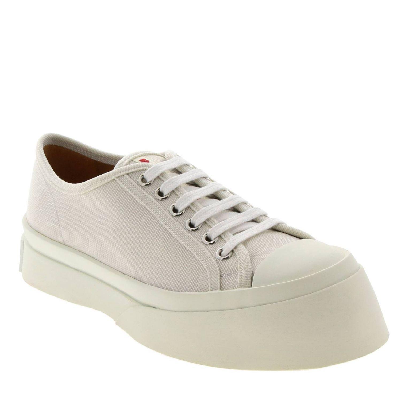 Sneakers Marni stringata in tela con logo e maxi suola in gomma smussata bianco 2
