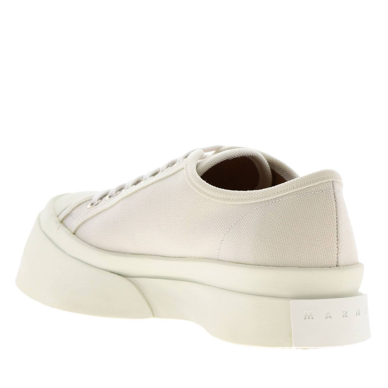 Sneakers Marni stringata in tela con logo e maxi suola in gomma smussata bianco 3