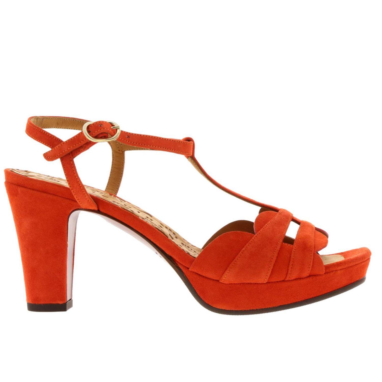 Sandalo Edet Chie Mihara in camoscio intrecciato a T arancione 1