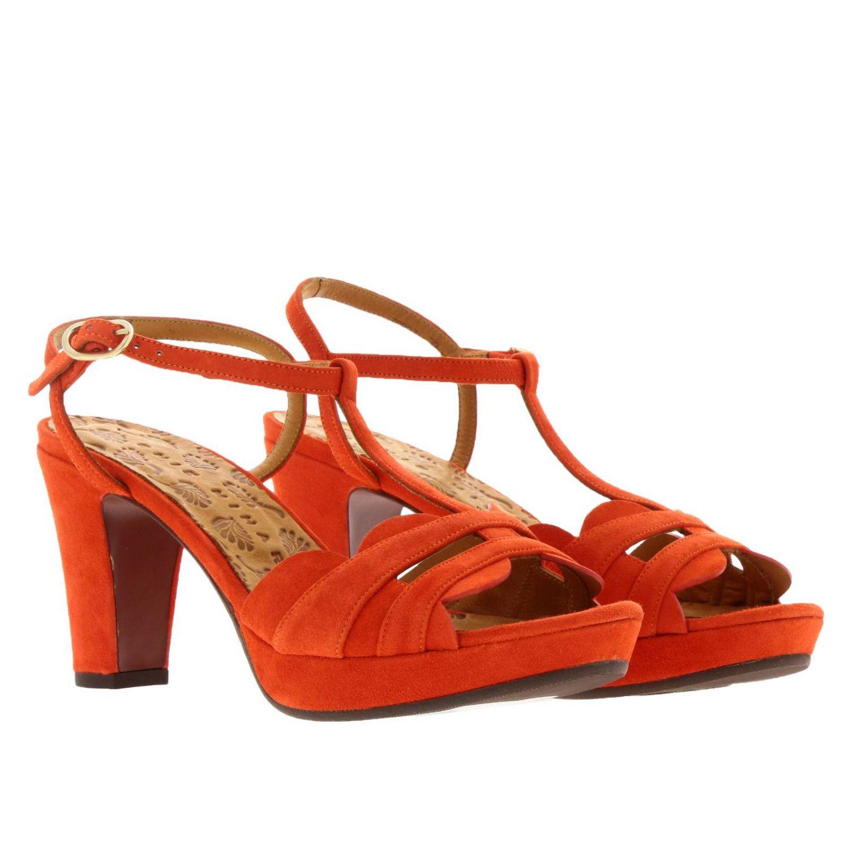 Sandalo Edet Chie Mihara in camoscio intrecciato a T arancione 2