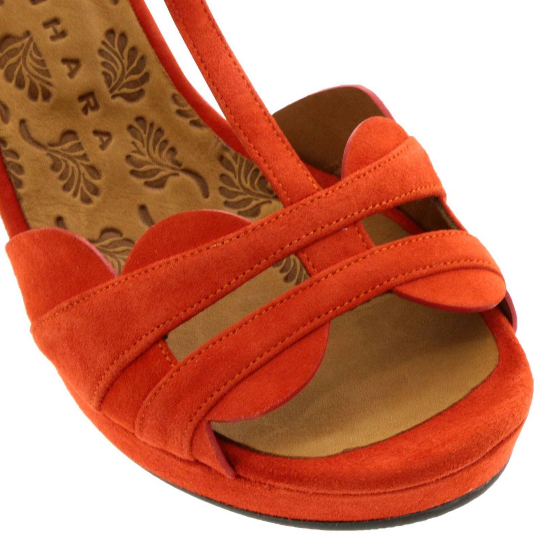 Sandalo Edet Chie Mihara in camoscio intrecciato a T arancione 3