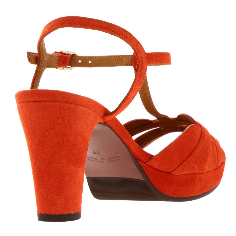 Sandalo Edet Chie Mihara in camoscio intrecciato a T arancione 4