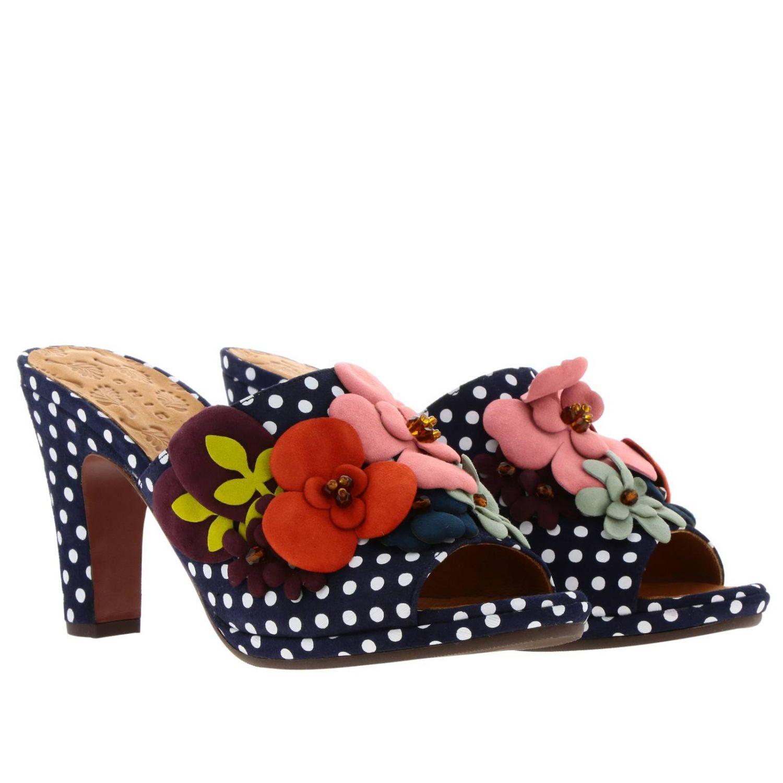 Sandalo Abbi Chie Mihara in cotone a pois con applicazioni floreali fantasia 2