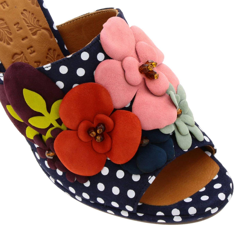 Sandalo Abbi Chie Mihara in cotone a pois con applicazioni floreali fantasia 3