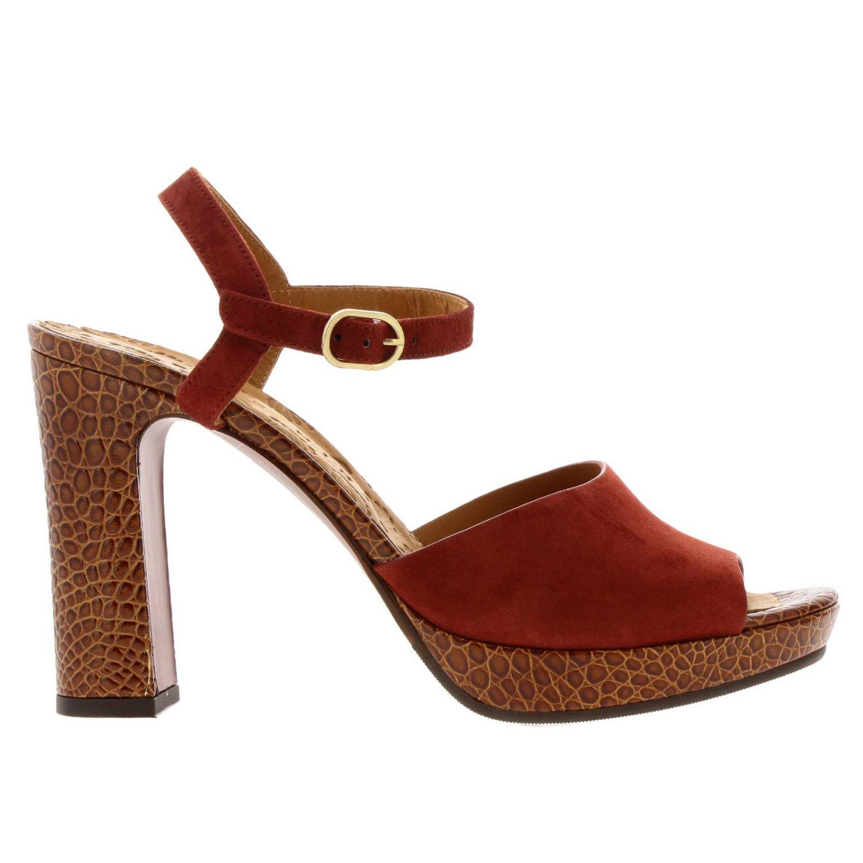 Sandalo Casette Chie Mihara in camoscio e pelle stampa cocco rosso 1