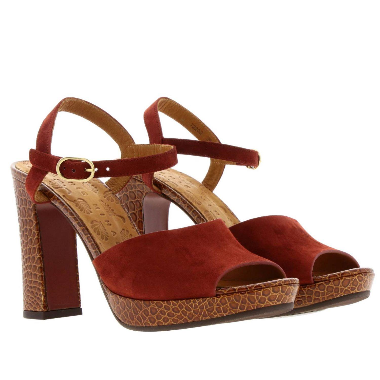 Sandalo Casette Chie Mihara in camoscio e pelle stampa cocco rosso 2