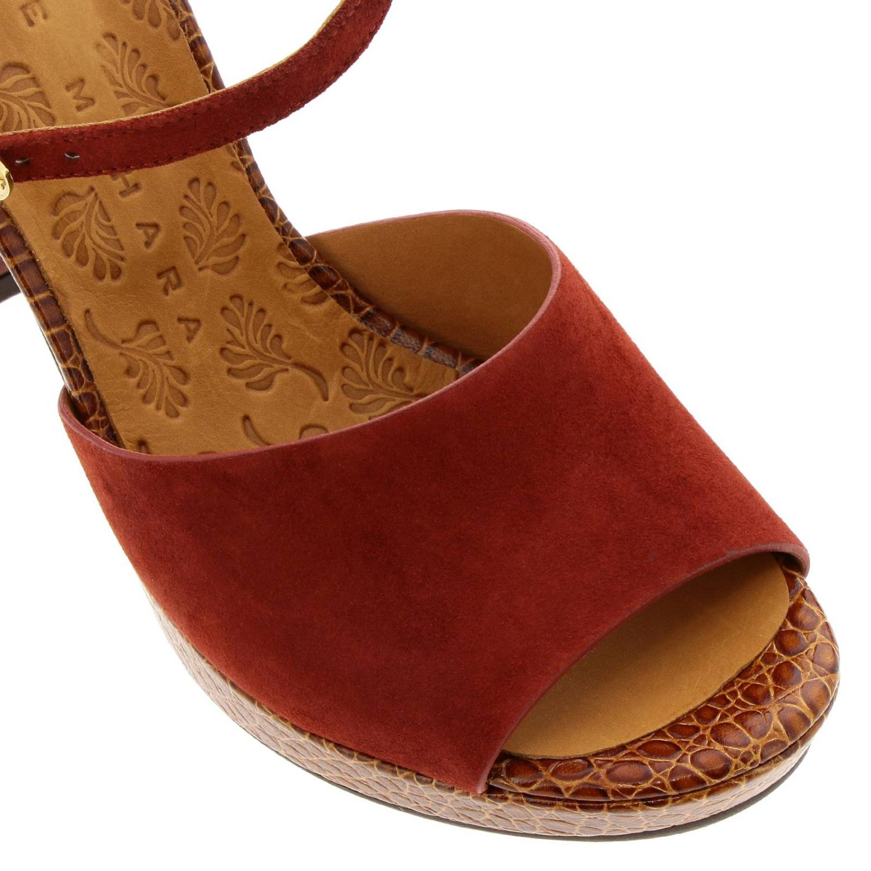Sandalo Casette Chie Mihara in camoscio e pelle stampa cocco rosso 3