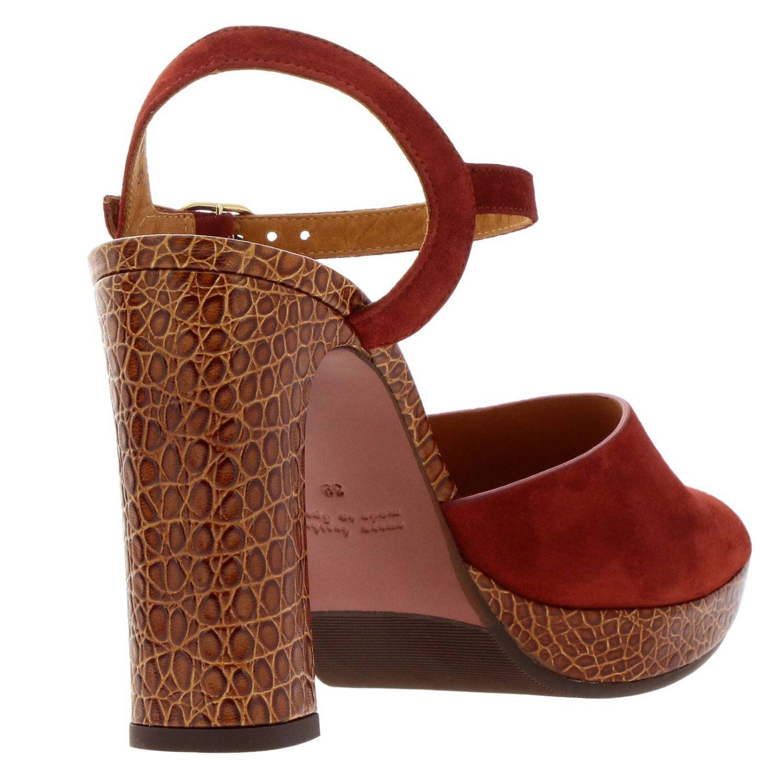 Sandalo Casette Chie Mihara in camoscio e pelle stampa cocco rosso 4