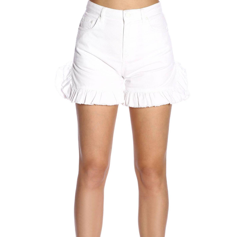 Shorts Msgm a vita alta con fondo ampio di rouches bianco 1