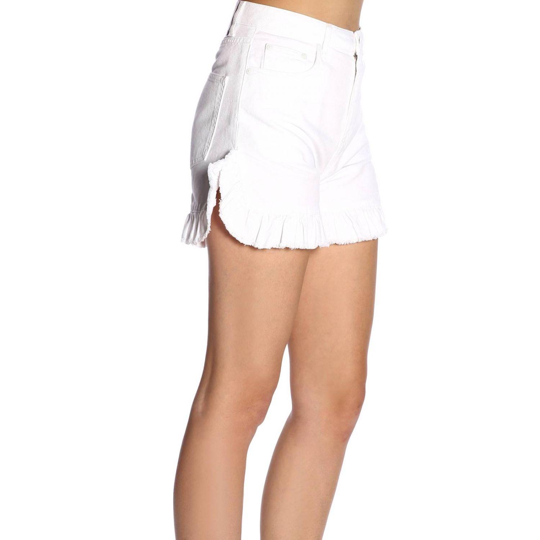 Shorts Msgm a vita alta con fondo ampio di rouches bianco 2