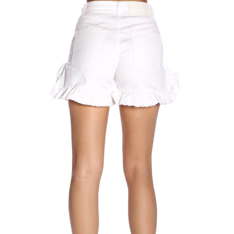 Shorts Msgm a vita alta con fondo ampio di rouches bianco 3