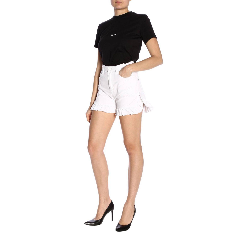 Shorts Msgm a vita alta con fondo ampio di rouches bianco 4