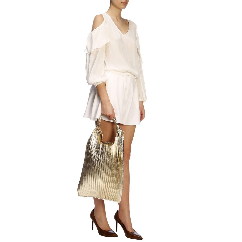 Borsa Picasso Anita Bilardi shopper in pelle laminata e plissettata platino 2