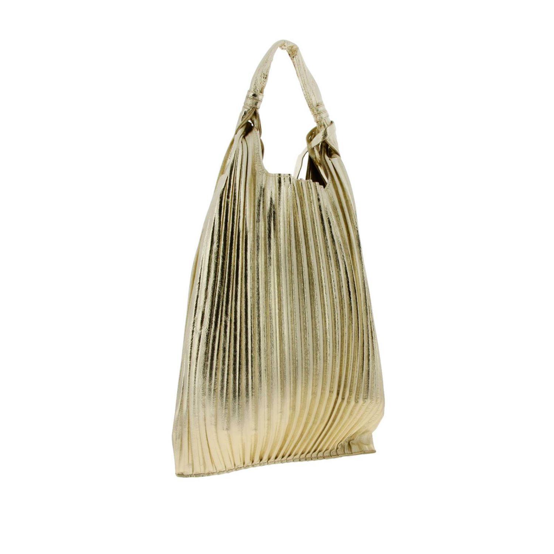 Borsa Picasso Anita Bilardi shopper in pelle laminata e plissettata platino 3