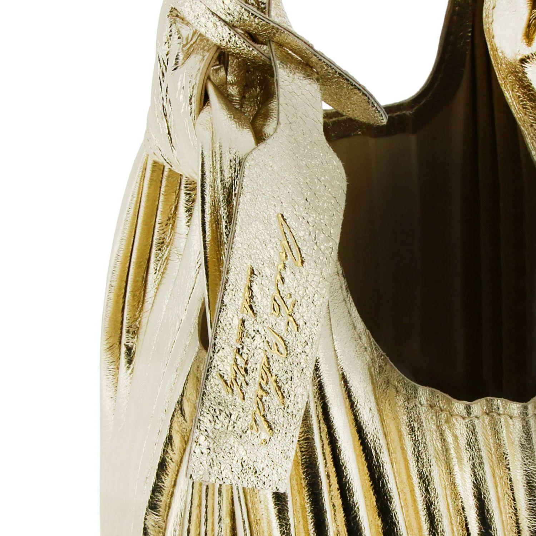 Borsa Picasso Anita Bilardi shopper in pelle laminata e plissettata platino 4