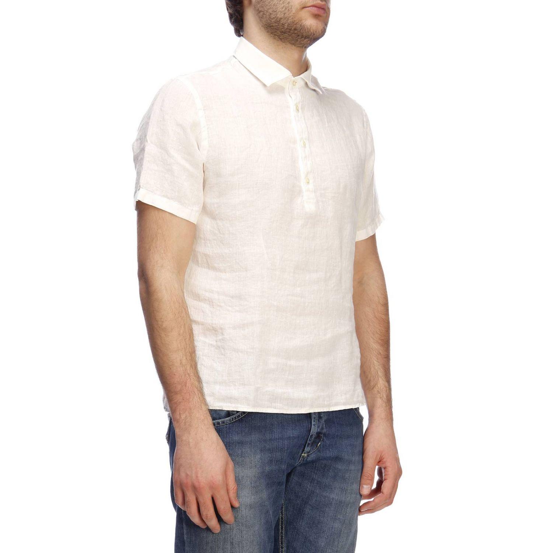 Polo Brooksfield basic a maniche corte in lino bianco 2