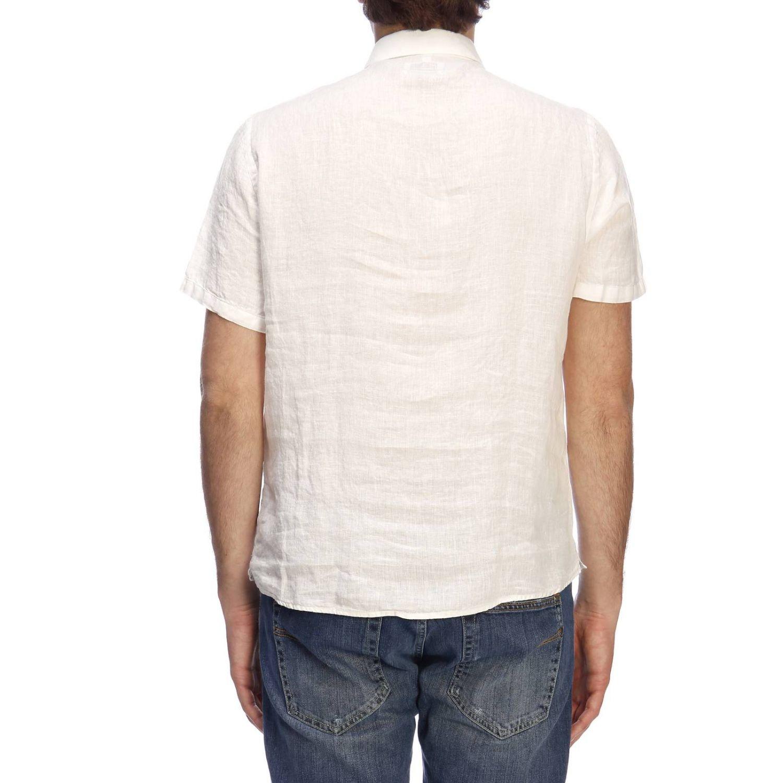 Polo Brooksfield basic a maniche corte in lino bianco 3