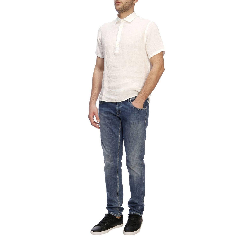 Polo Brooksfield basic a maniche corte in lino bianco 4