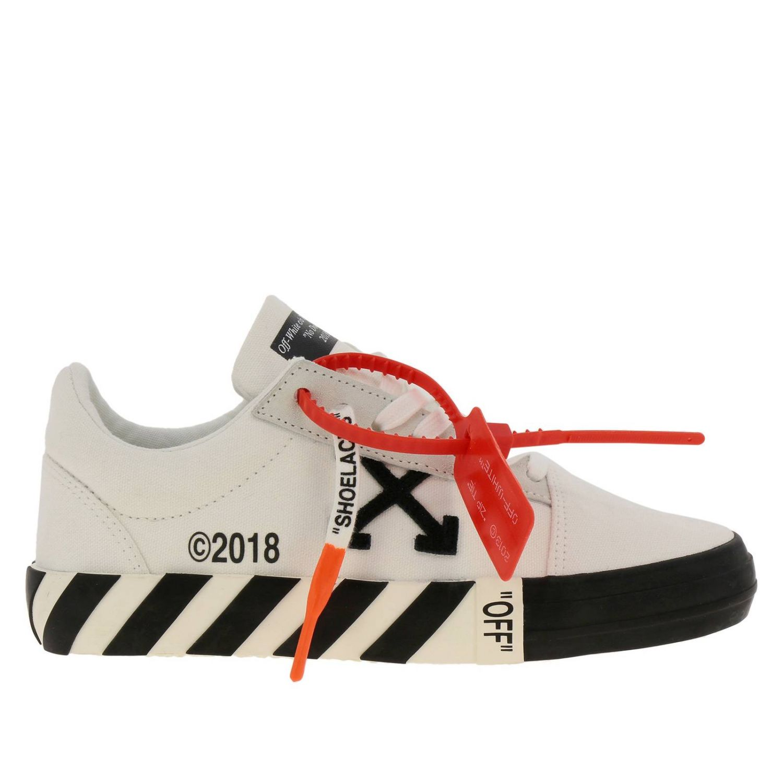 Sneakers in pelle con logo Off White bianco 1
