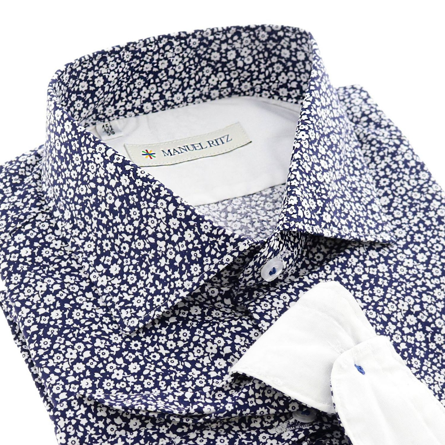 Camicia Manuel Ritz a fantasia con collo francese blue 2