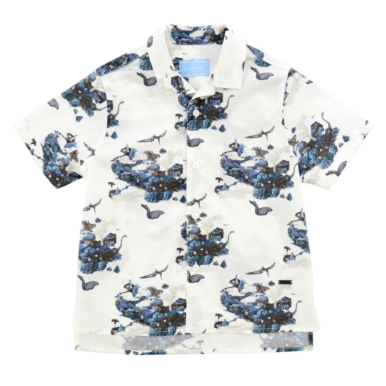 Camicia Lanvin a maniche corte con fantasia all over bianco 1