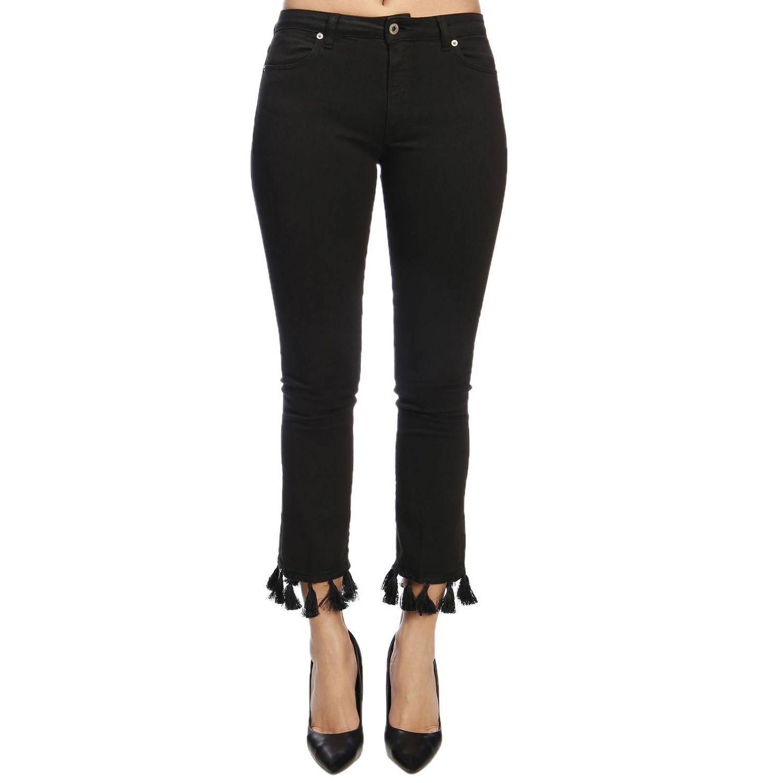 Jeans Dondup a 5 tasche in denim slim stretch con nappe sul fondo nero 1