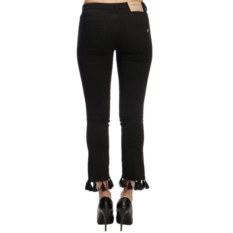 Jeans Dondup a 5 tasche in denim slim stretch con nappe sul fondo nero 3