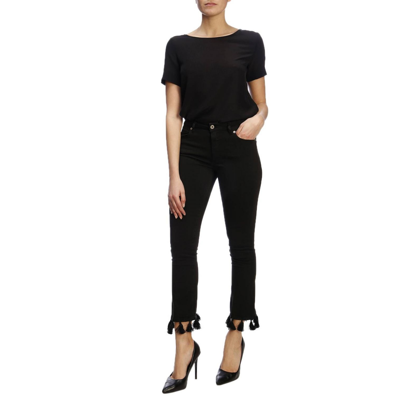 Jeans Dondup a 5 tasche in denim slim stretch con nappe sul fondo nero 4