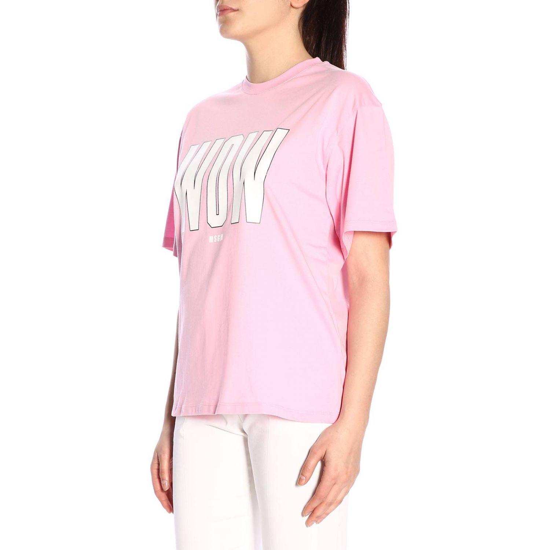 T-shirt Msgm a girocollo con stampa rosa 2