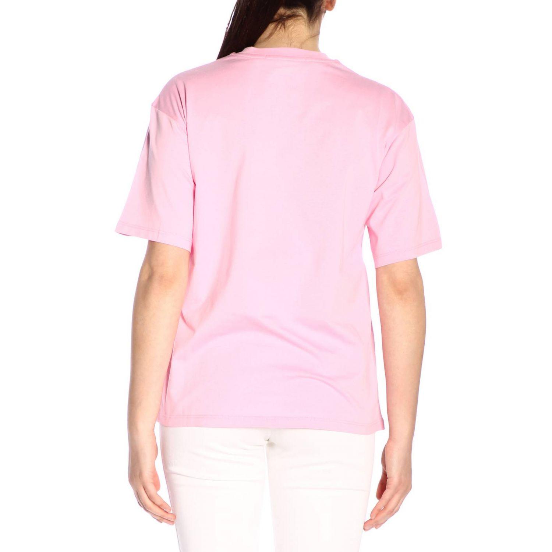 T-shirt Msgm a girocollo con stampa rosa 3
