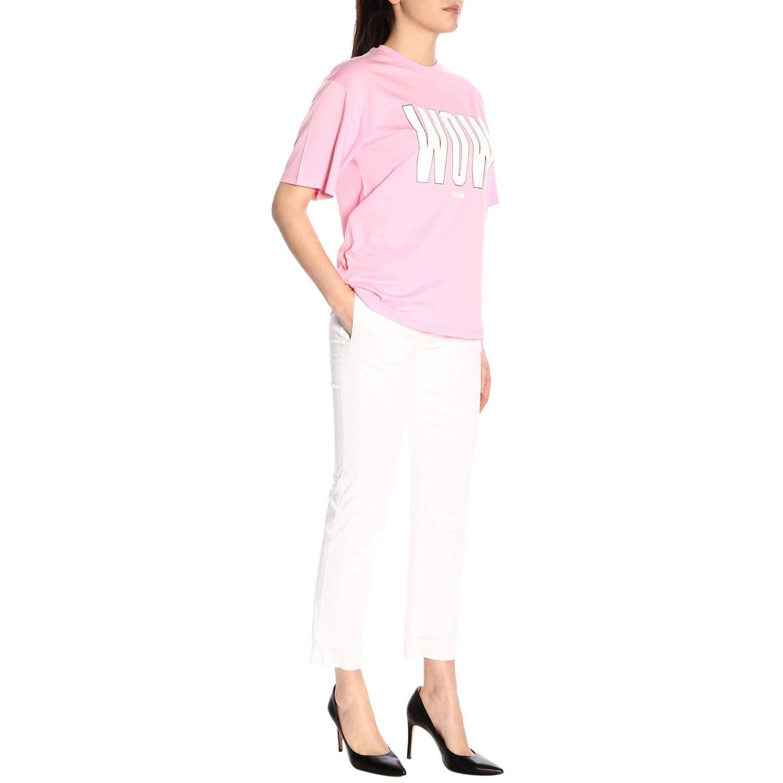 T-shirt Msgm a girocollo con stampa rosa 4
