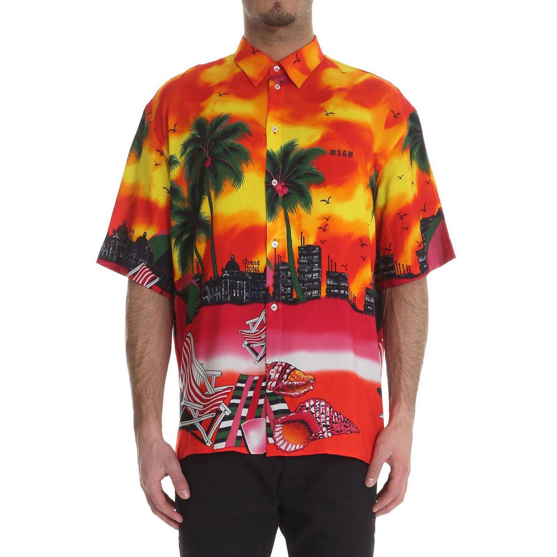 Camisa hombre Msgm X Sundek rojo 1