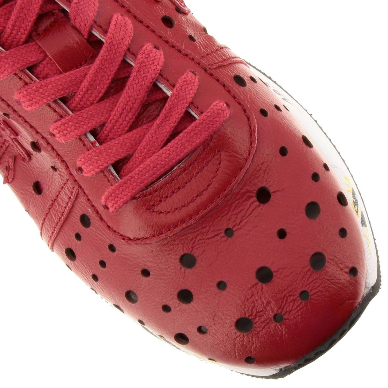 Sneakers Conny Premiata in pelle traforata con suola multi stampe rosso 3
